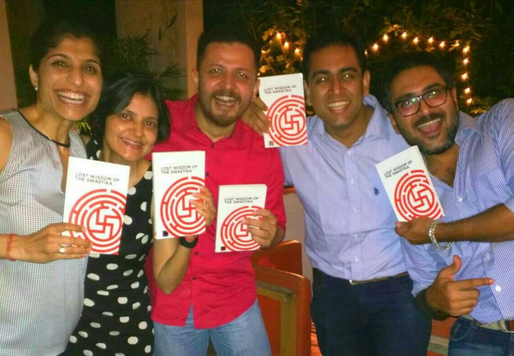 In August Company (L - R) : Shikha Uberoi (CoFounder, Indi.com), Sairee Chahal (Founder & CEO, Sheroes.in), Ajay Chaturvedi (Founder & Chairman, HarVa), Self, Tathagat Choudhry (CoFounder, FARO) with our personalized copies of the book