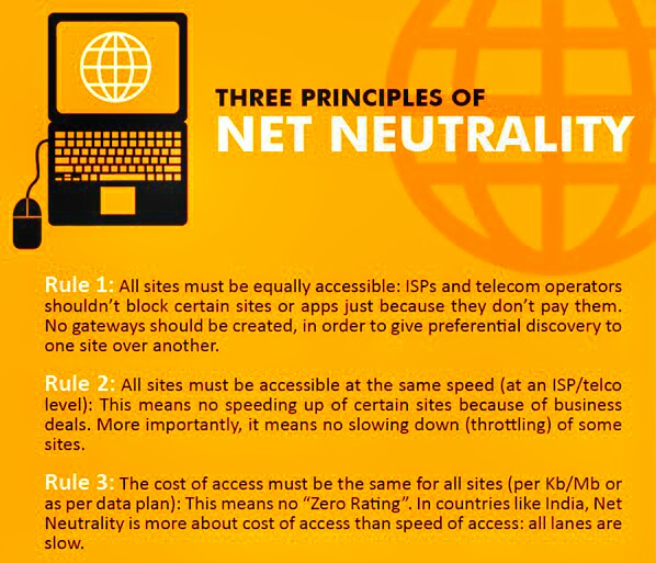 Three Principles of Net Neutrality | Picture Credit : Nikhil Pahwa, National e-Governance Division India